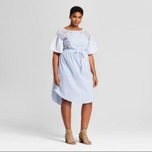 Ava & Viv Plus 3X Striped Embroidered Shirt Dress